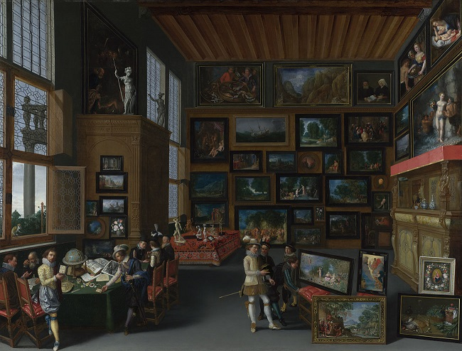 Flemish,  Cognoscenti in a Room hung with Pictures,  About 1620. Bequeathed by John Staniforth Beckett, 1889 © NATIONAL GALLERY