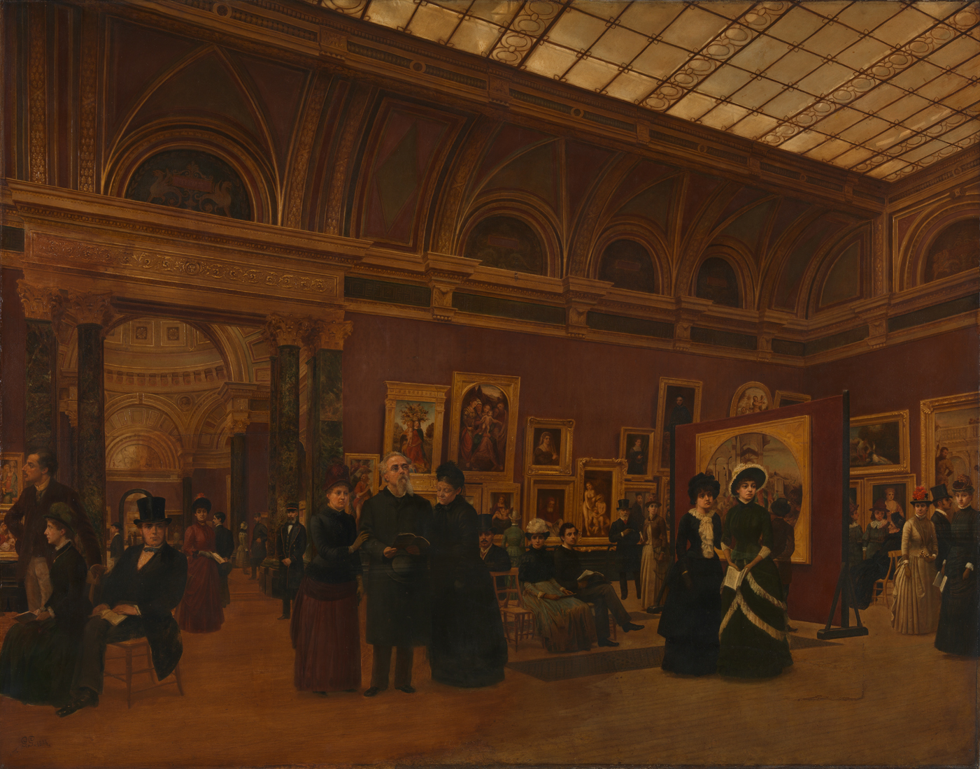 Giuseppe Gabrielli ,  The National Gallery 1886, Interior of Room 32 , , 1886, © Crown copyright: UK Government Art Collection