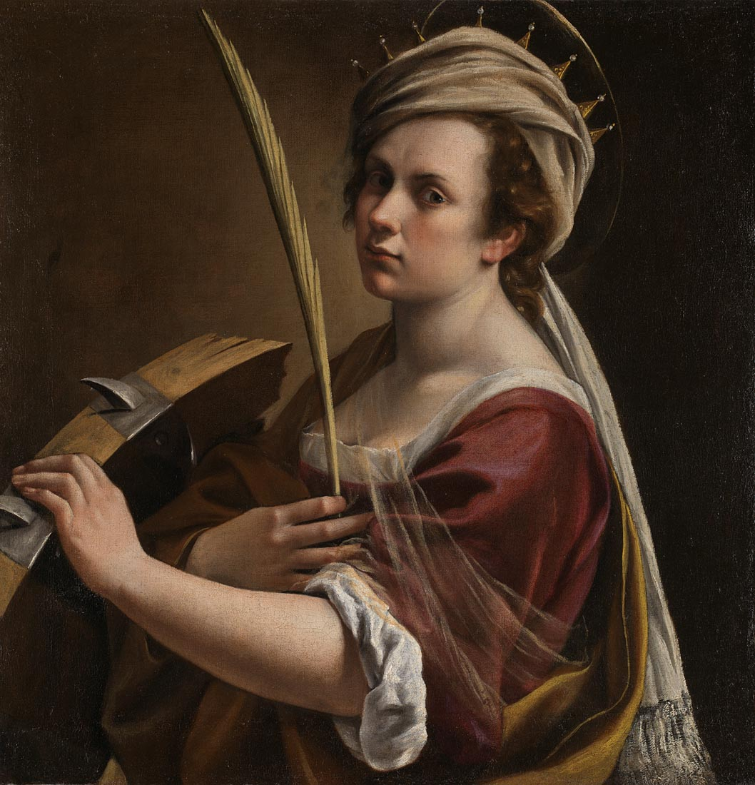 Artemisia Gentileschi,  Self Portrait as Saint Catherine of Alexandria,  1615-17, Bought with the support of the American Friends of the National Gallery, the National Gallery Trust, Art Fund (through the legacy of Sir Denis Mahon), Lord and Lady Sassoon, Lady Getty, Hannah Rothschild CBE and other donors including those who wish to remain anonymous, 2018 © The National Gallery, London
