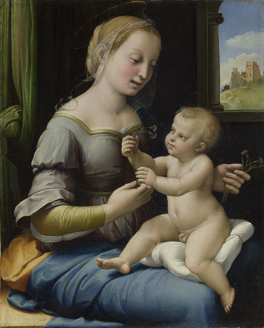 Raphael,  The Madonna of the Pinks ('La Madonna dei Garofani'),  1506-7, Bought with the assistance of the Heritage Lottery Fund, the Art Fund (with a contribution from the Wolfson Foundation), the American Friends of the National Gallery, London, the George Beaumont Group, Sir Christopher Ondaatje and through public appeal, 2004 © THE NATIONAL GALLERY, LONDON