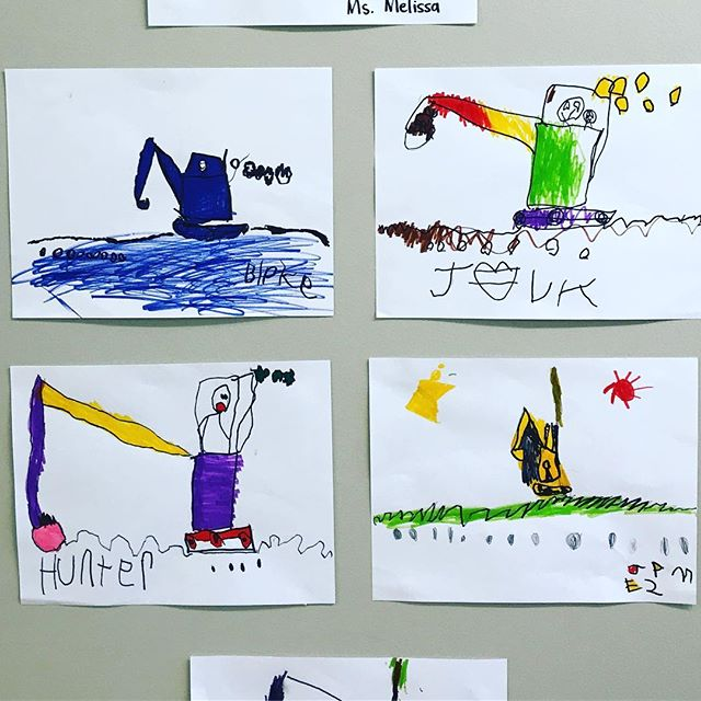 X is for eXcavator! Our four-year-olds are so proud of their directed drawings! #followingdirections #finemotorskills #shapes #preschoolfun