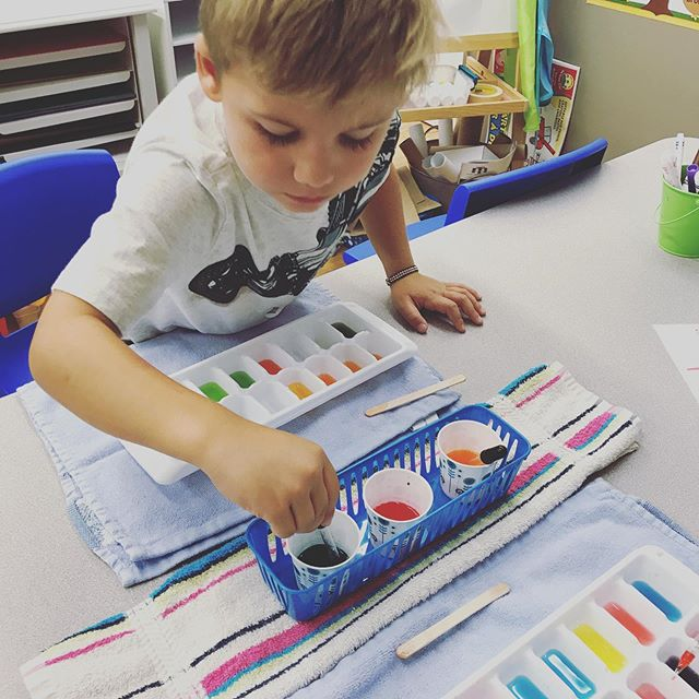 Our four-year-olds learned about primary and secondary colors last week! They loved mixing colors and discovering what new colors they could make!