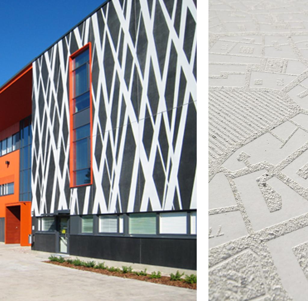 Graphic Concrete, Kangasala Senior Secondary School - Ruhnau Clarke Architects