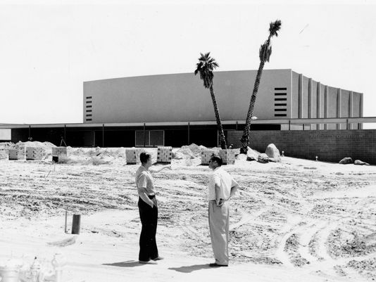 Original exterior of the Palm Springs High School Auditorium,