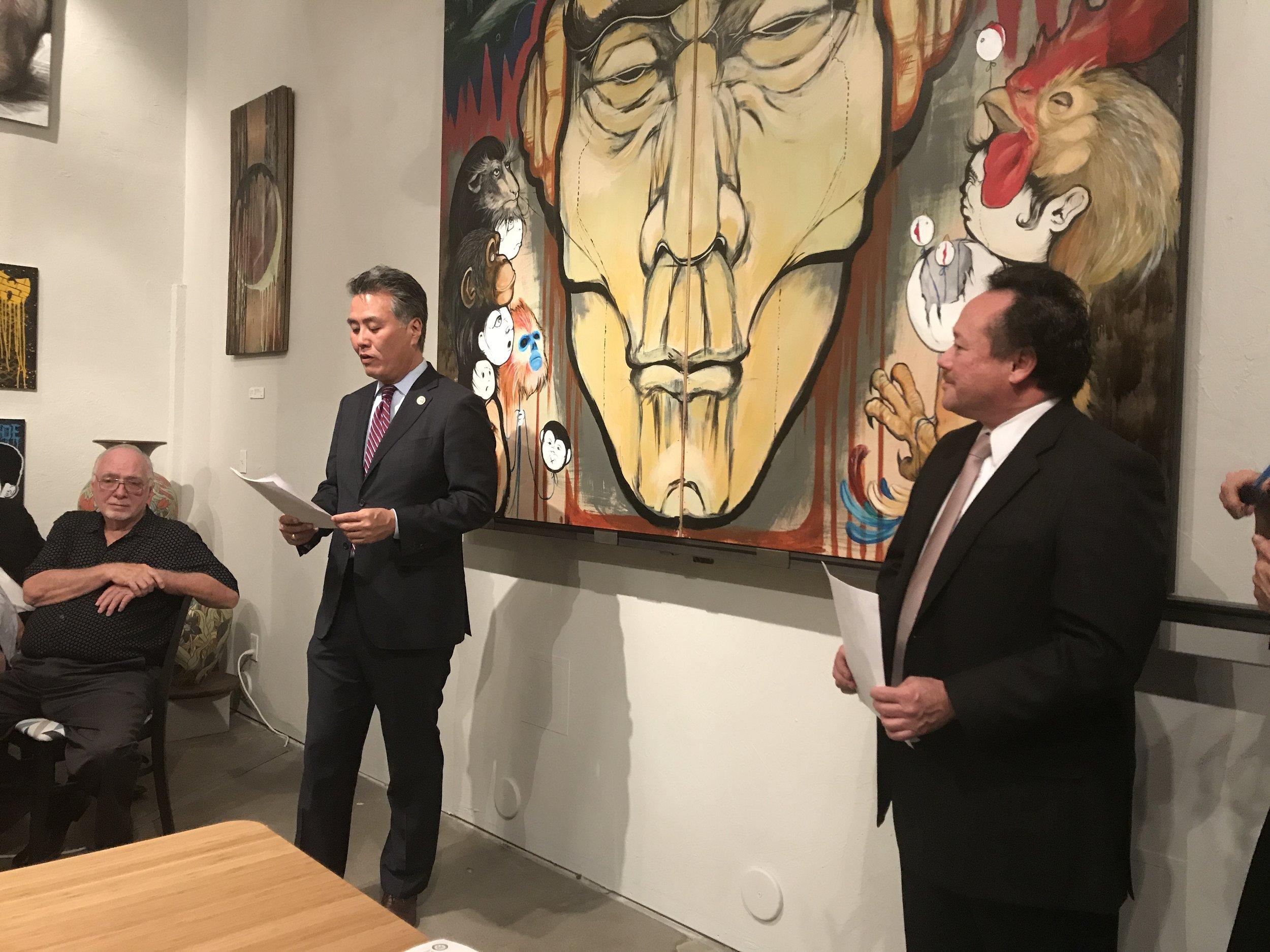 Congressman Takano announcing the winners