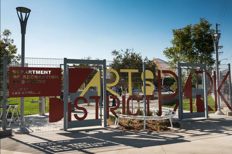 Welded wire fencing with wayfinding signage (Image property of la.curbed.com)