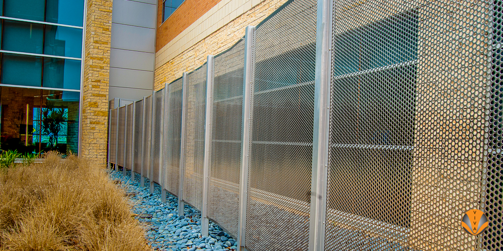 Steel perforated panel fencing (Image property of vivarailings.com)