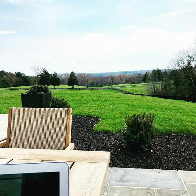 Office for the day. Things are greening up, and the geese are squabbling on the lake. Time to bring out the dogs, write some more, maybe think about a cold 🍺. Anyone else love working outside this time of year? #writerslife #authorlife #wordcount #thriller #booklover #keswickva
