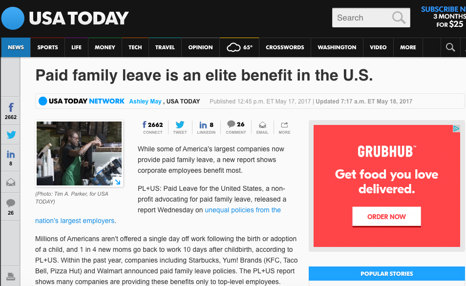 Paid family leave is an elite benefit in the U.S. (USA Today)