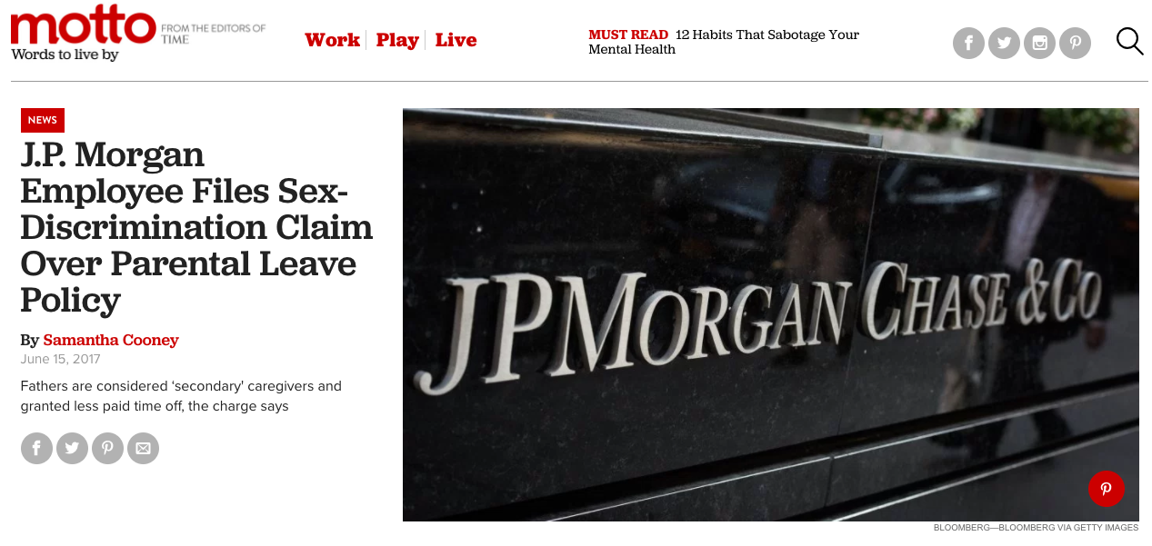 J.P. Morgan Employee Files Sex-Discrimination Claim Over Parental Leave Policy (Ti/Motto)