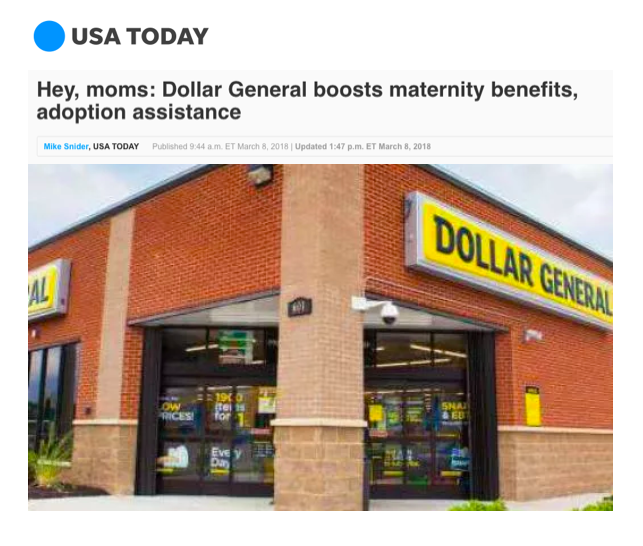 Hey, moms: Dollar General boosts maternity benefits, adoption assistance (USA Today)
