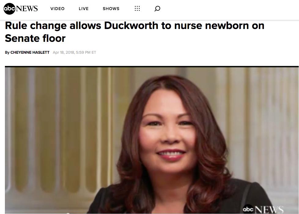 - Rule change allows Duckworth to nurse newborn on Senate floor (ABC News)