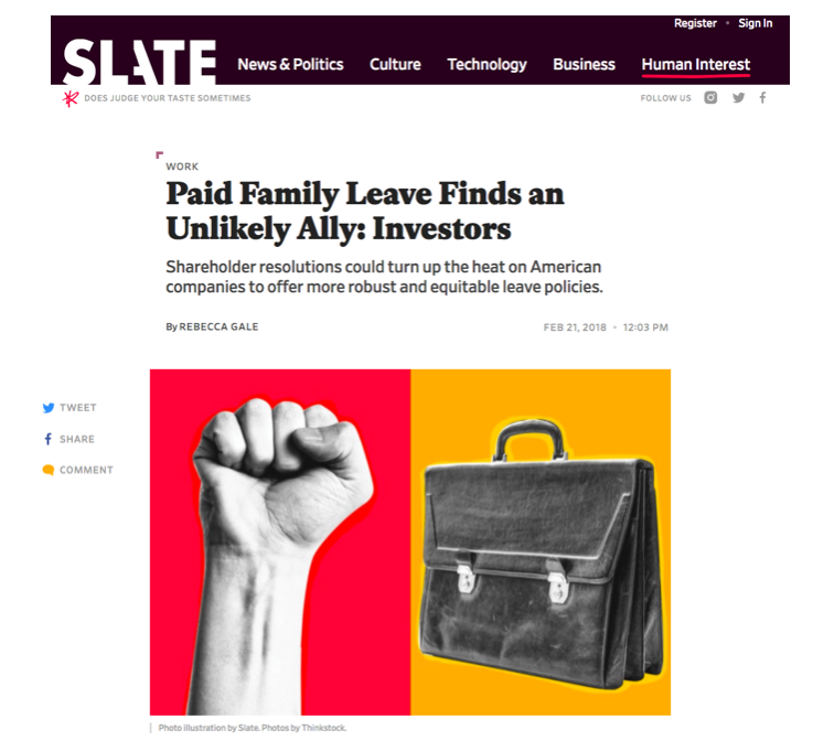 - Paid Family Leave Finds an Unlikely Ally: Investors (Slate)