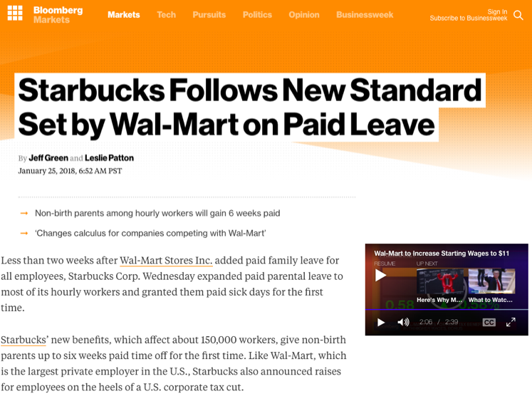 - Starbucks Follows New Standard Set by Wal-Mart on Paid Leave (Bloomberg)