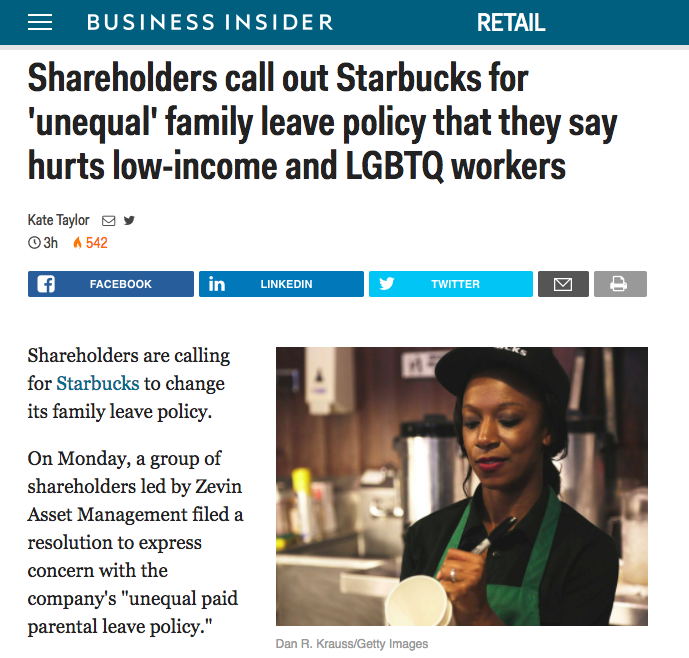 - Shareholders call out Starbucks for 'unequal' family leave policy (Business Insider)