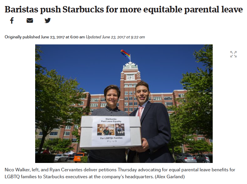 - Baristas push Starbucks for more equitable parental leave (The Seattle Times)