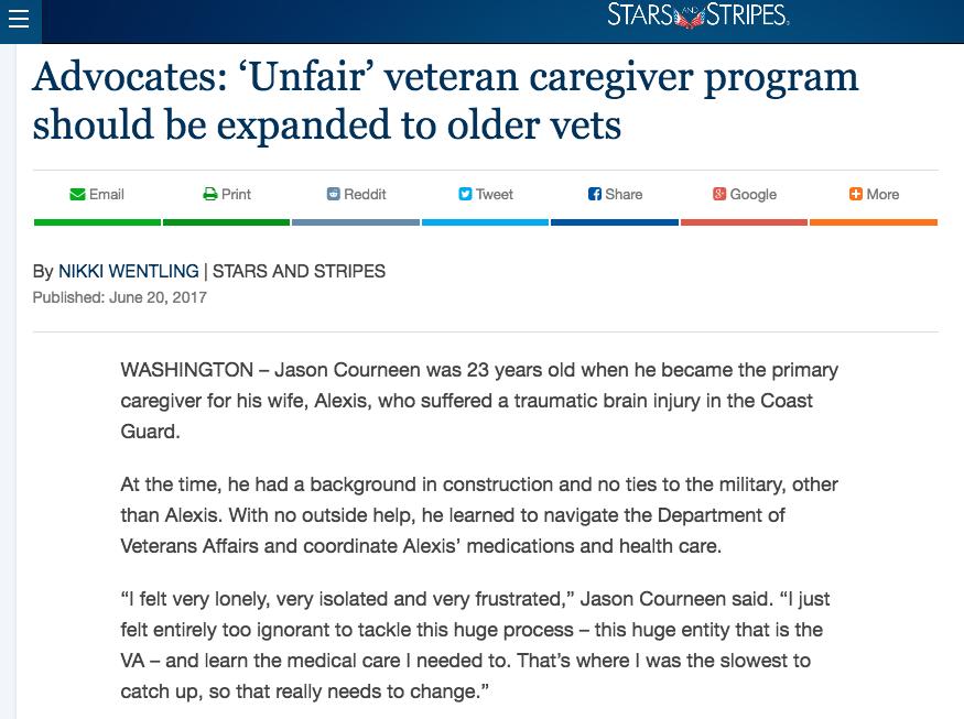 - Advocates: 'Unfair' veteran caregiver program should be expanded to older vets (Stars and Stripes)