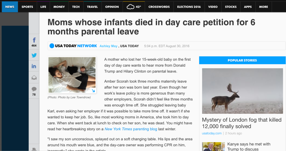 - Moms petition for 6 months parental leave (USA Today)