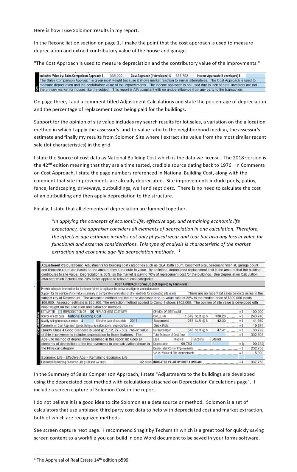 Reporting — Solomon Adjustment Calculator