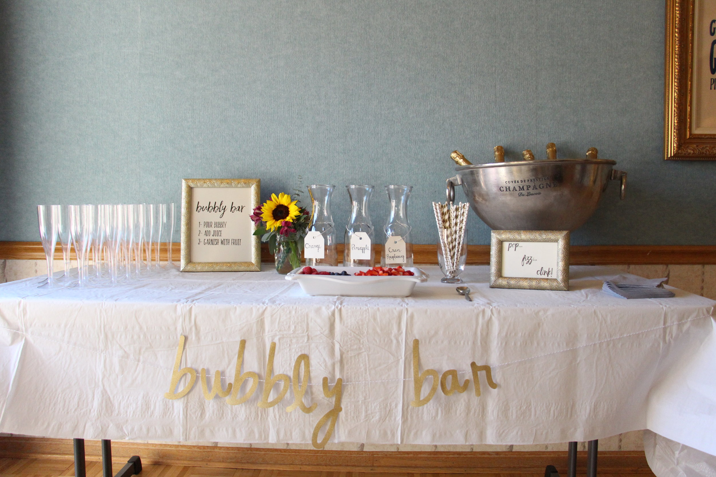 brunch and bubbly bridal shower bubbly bar by Mindy Larsen