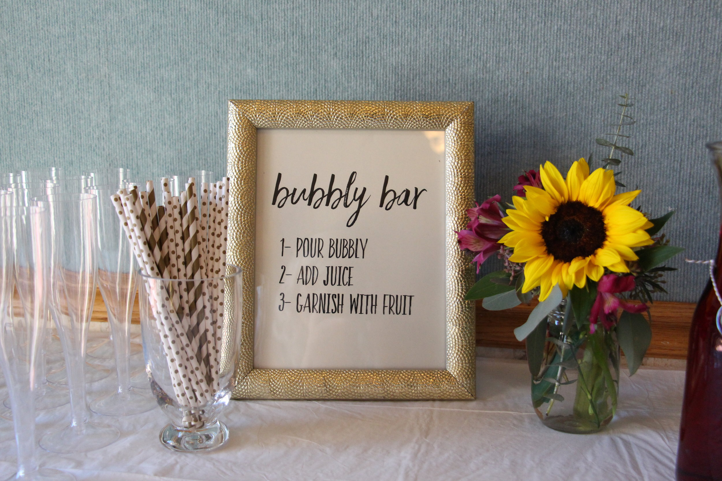 brunch and bubbly bridal shower bubbly bar sign by Mindy Larsen