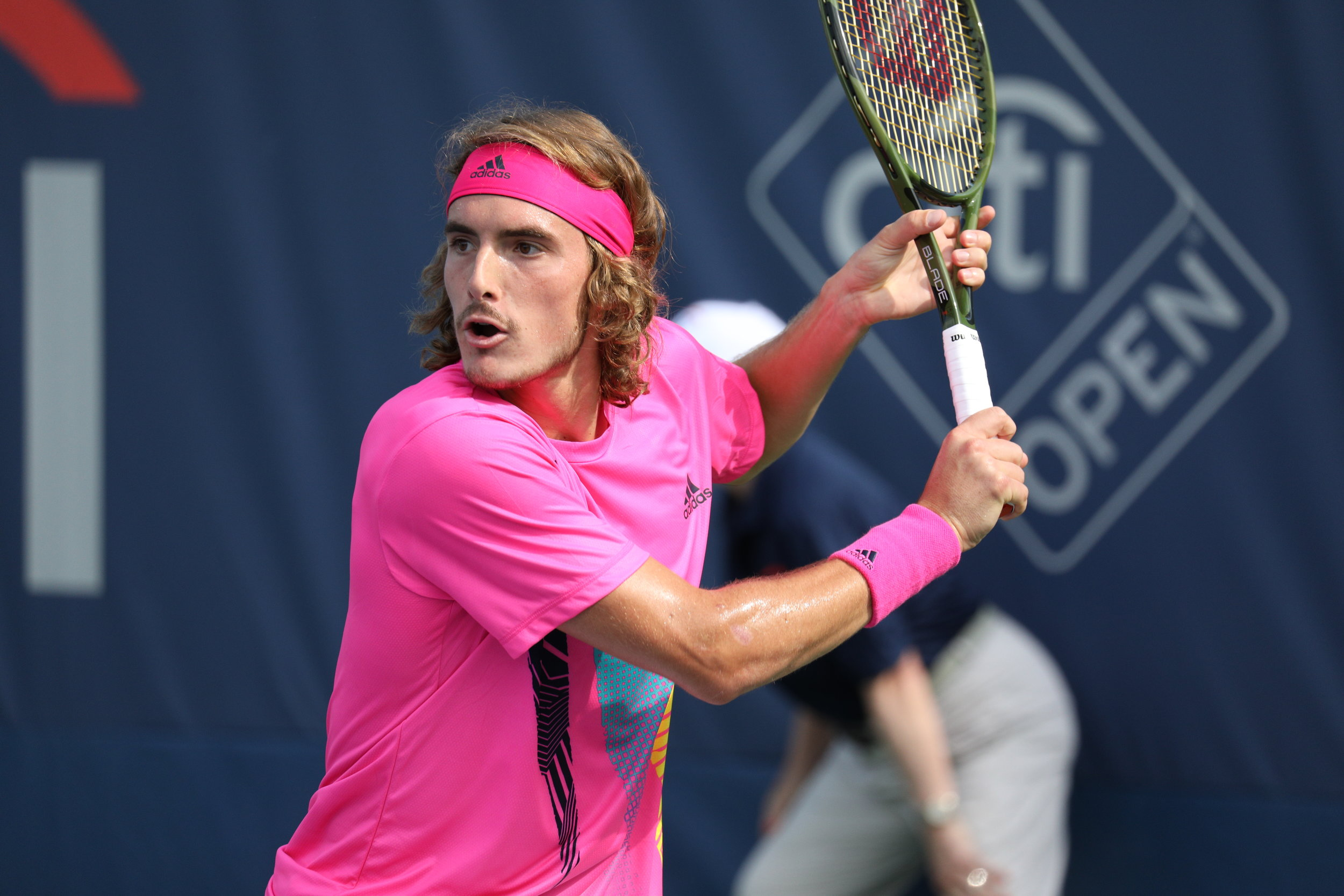Tsitsipas gained an unlikely Doubles partner during the 2019 Citi Open in Washington