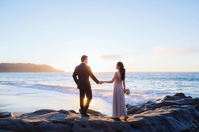 Enjoying the last of the warm summer weather.  #weddingphotography #sanfranciscoweddingphotographer #davidkimphotography #sunsetwedding #beachwedding