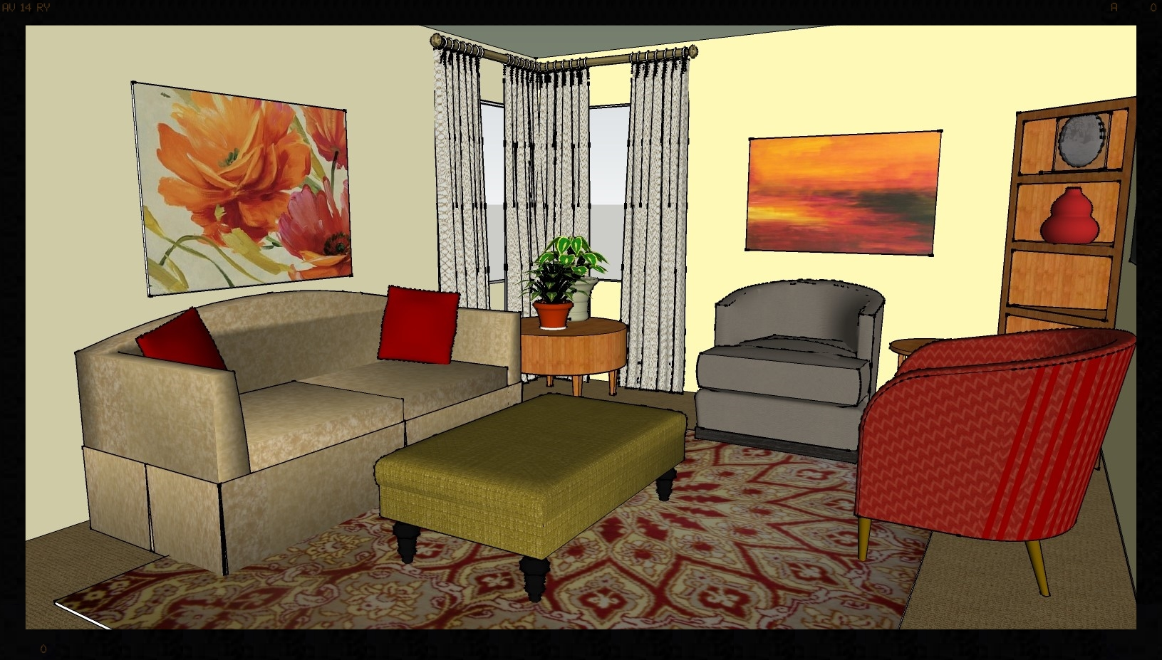 Perspective view of the room