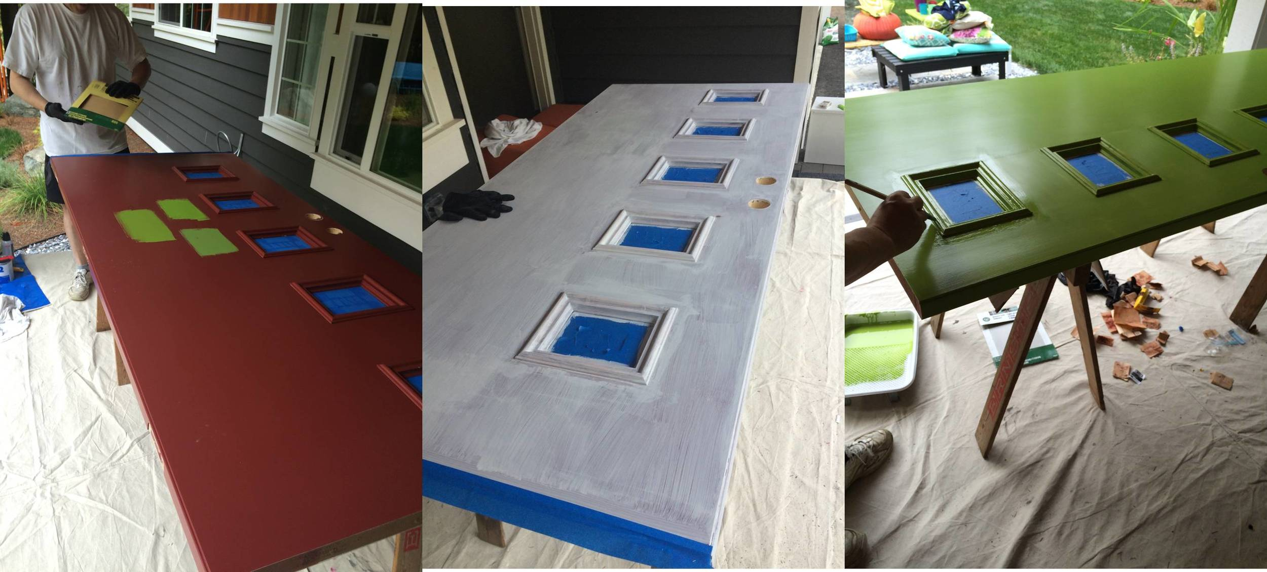 We tried three different colors,settled on Douglas Fir, then primed and painted.