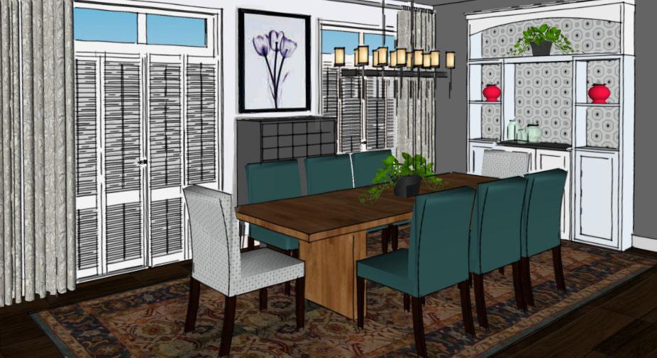 Dining Room with Secret Door Two Options