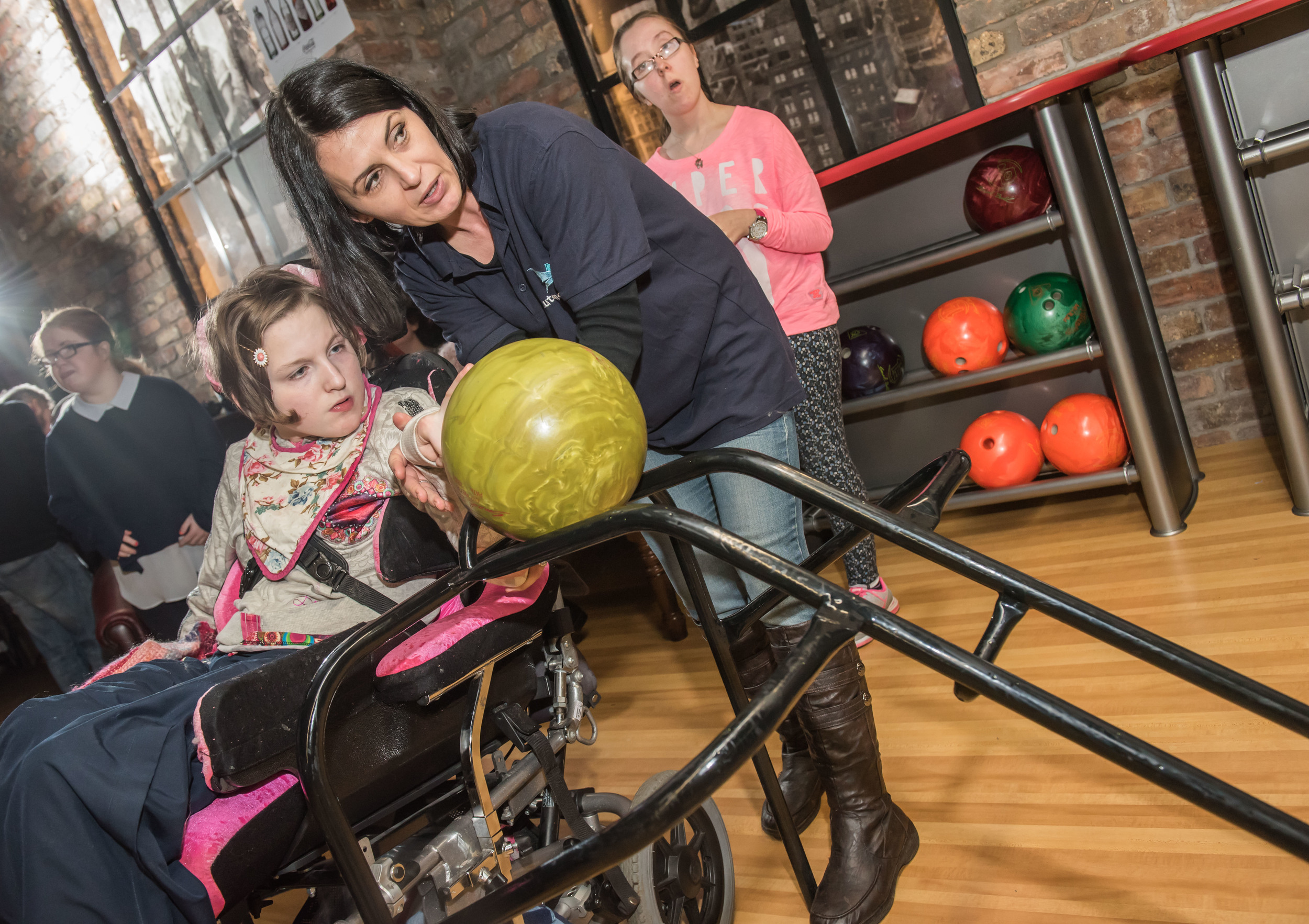Meabh hoping for a strike during a recent ten pin bowls trip to Lisburn Bowl as part of Autonomie's Freedom2Choose programme.