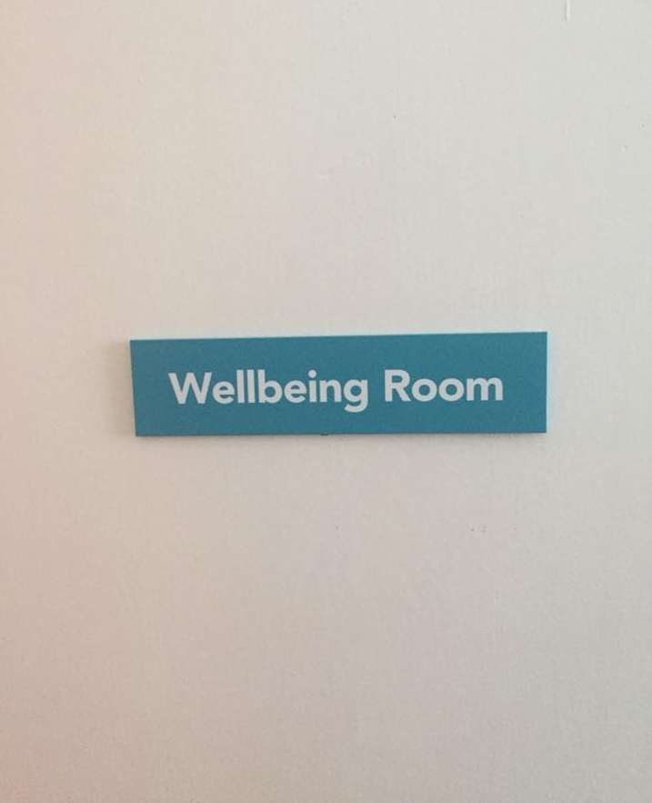 New door sign for the new Wellbeing Room at LILAC House -