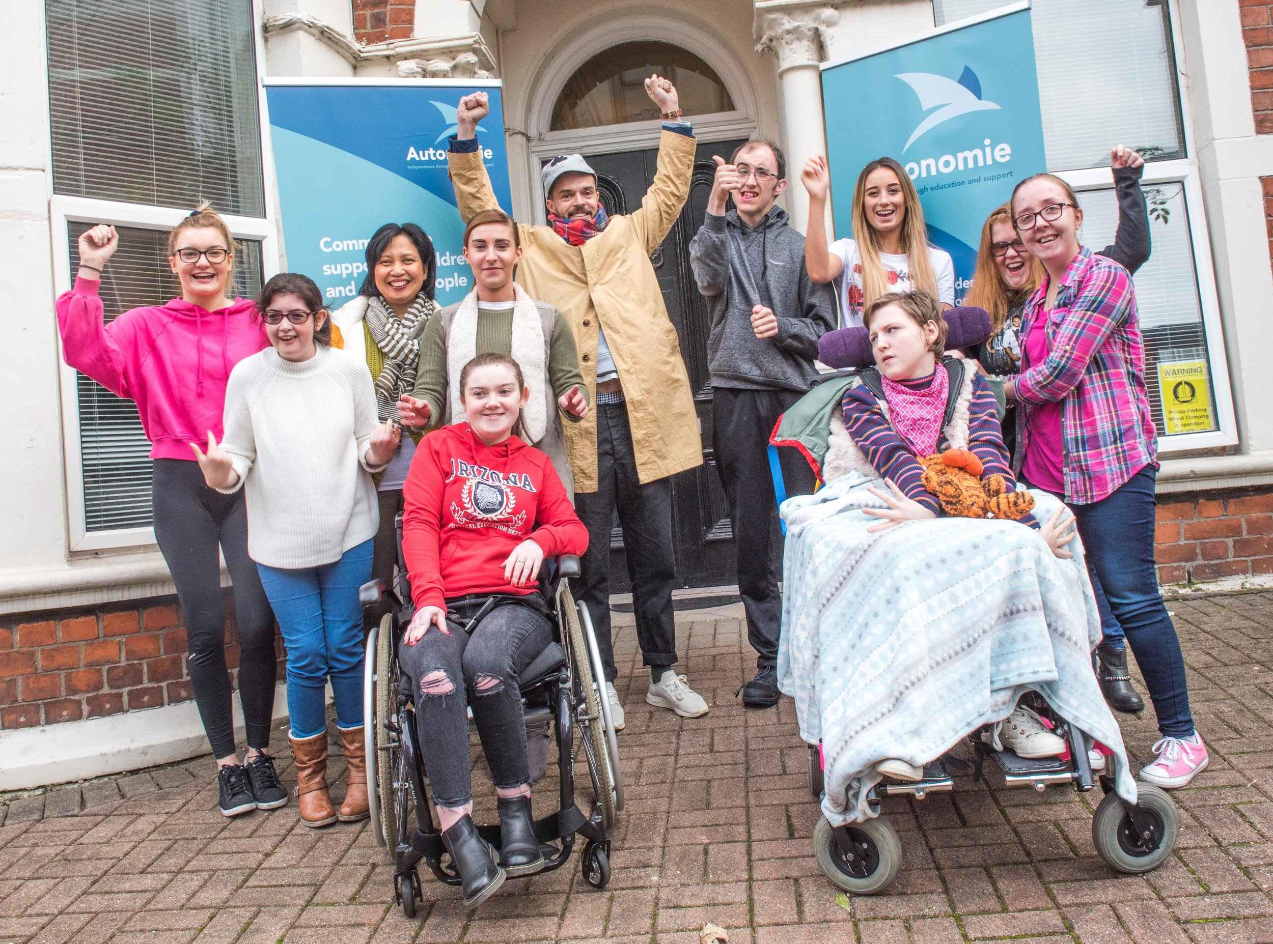 Young people that attend Autonome's current pilot project, social activity and skills development programme Freedom2Choose were joined by patron Oliver Jeffers for the ribbon-cutting ceremony at LILAC House.