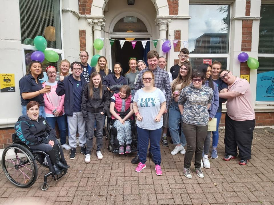 Pictured: Freedom2Choose young people and programme volunteers outside Lilac House at Saturday's Coffee Afternoon in aid of Macmillan Cancer Support.