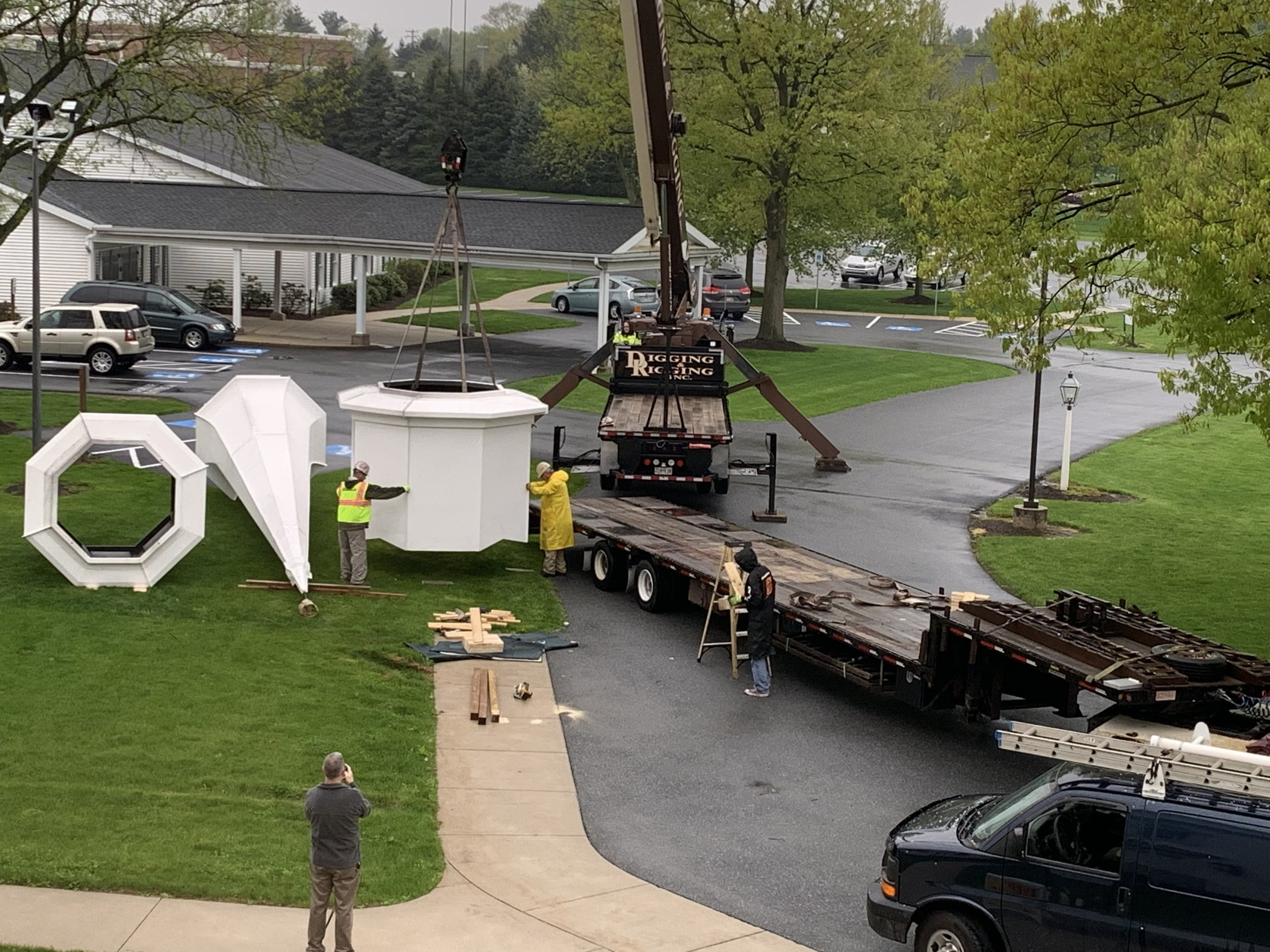 New steeple offloading on April 26, 2019.
