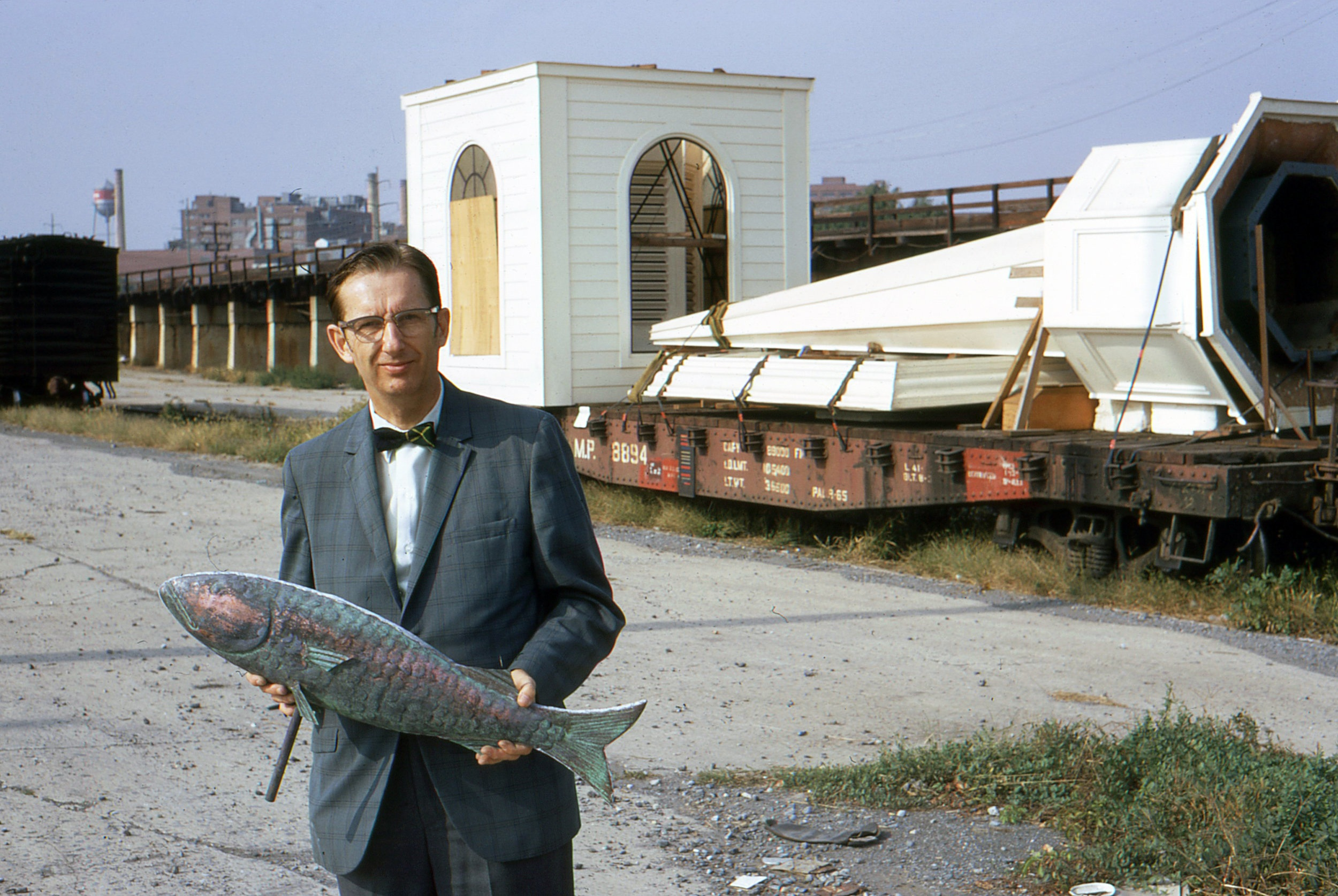 Rev. Siddons at the Railroad Depot with the Steeple on October 20, 1970.