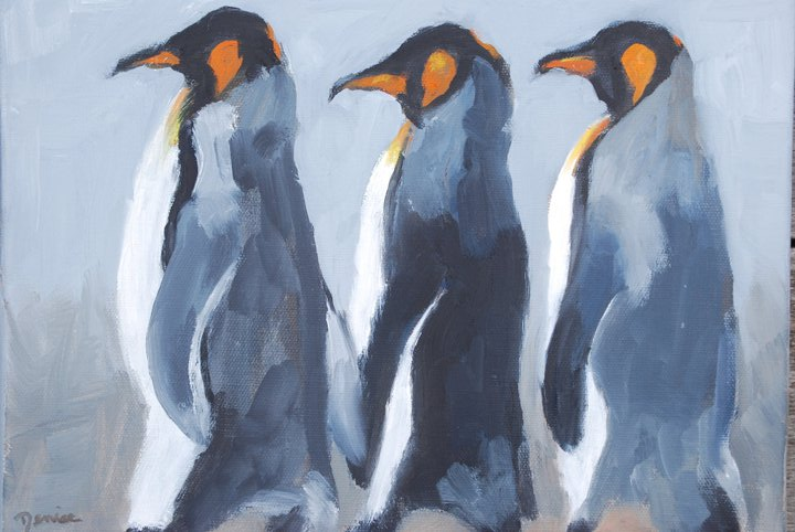 March of the Penguins, Oil on Canvas, 13 1/2 x 10 1/2