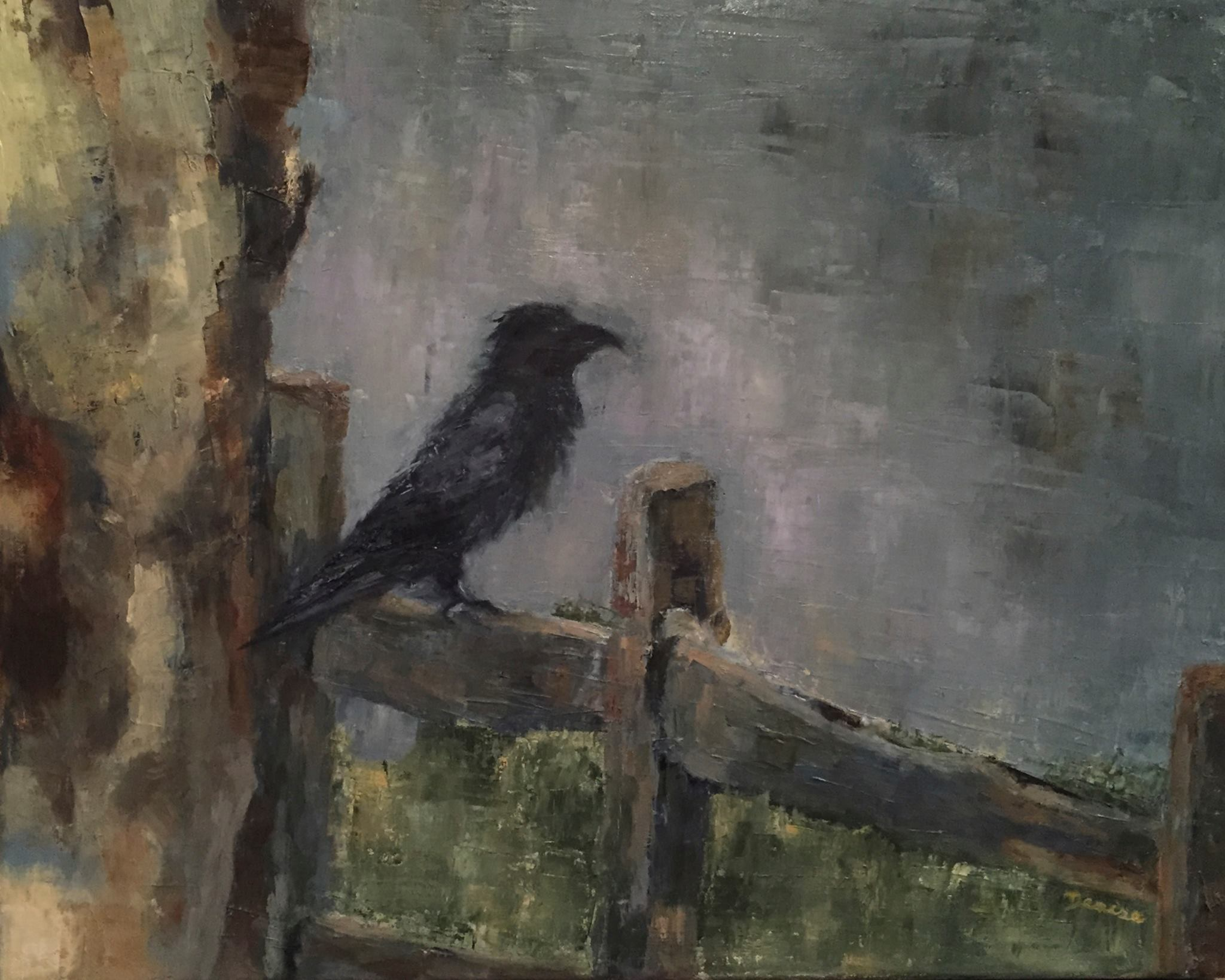 On the Fence, Oil on Canvas, 16 x 20, SOLD