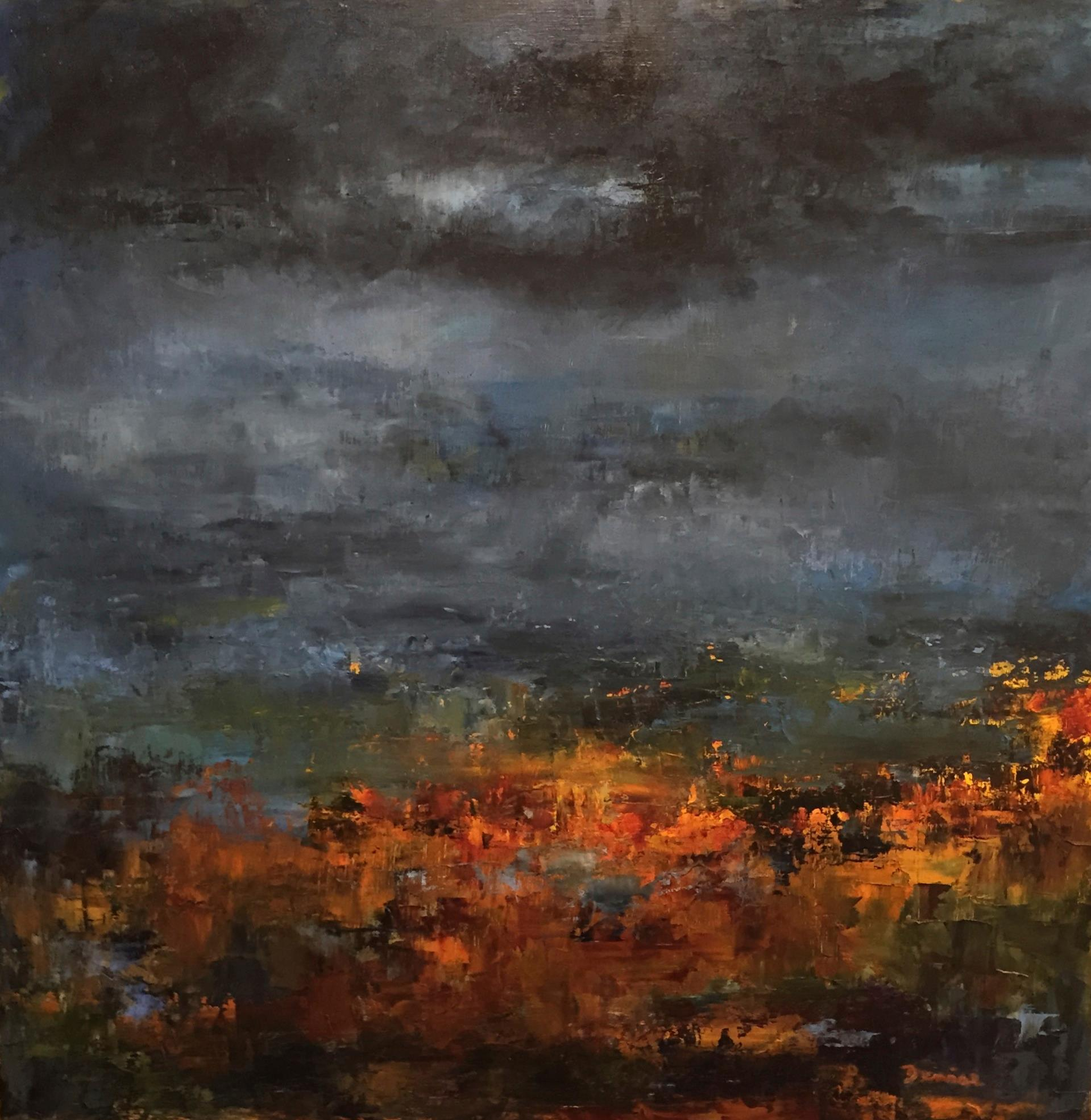 Stormy Skies, Oil on Board, 24 x 24, SOLD