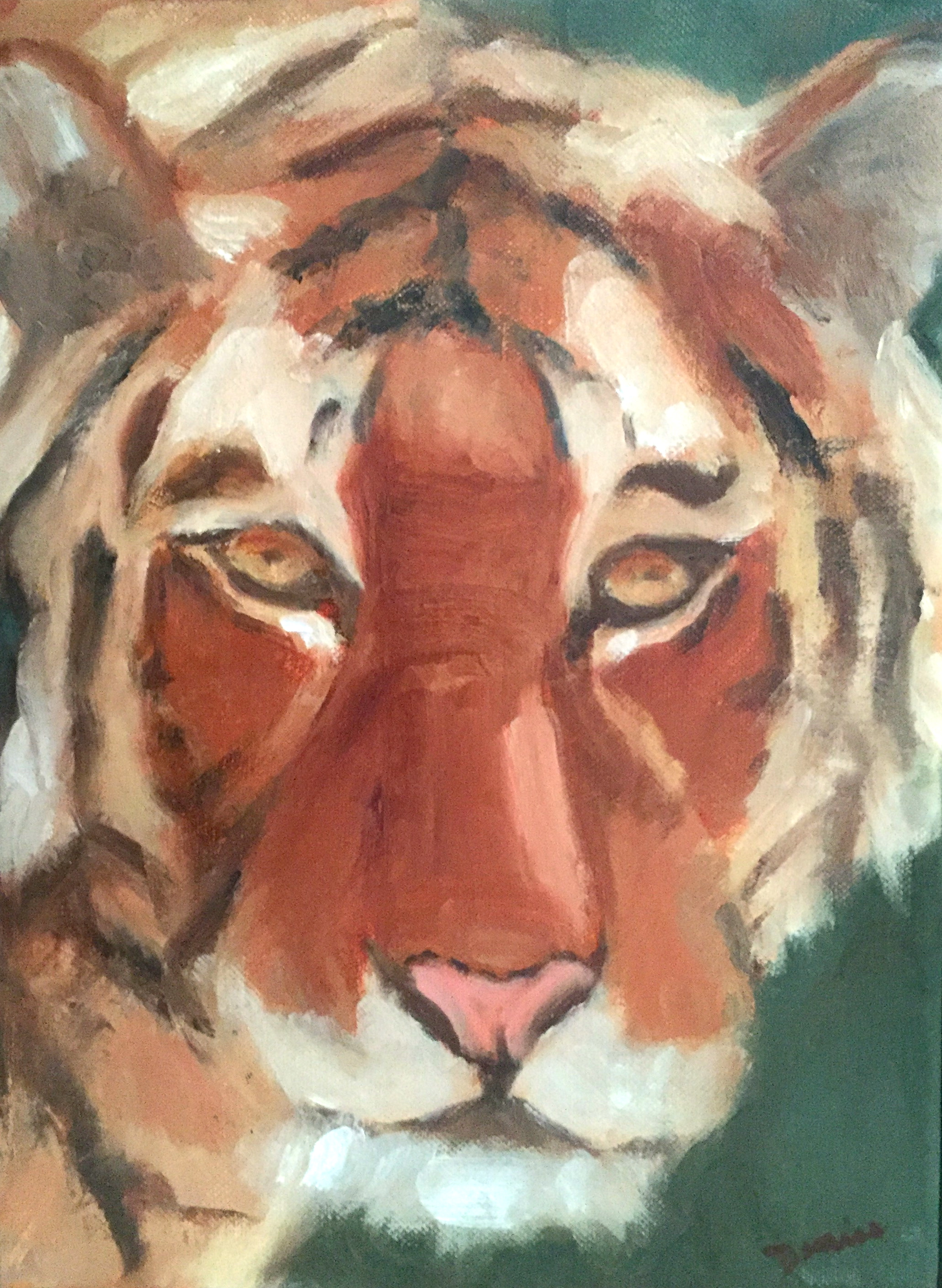 Bengal Tiger, Oil on Canvas, 10 1/2  x 13 1/2