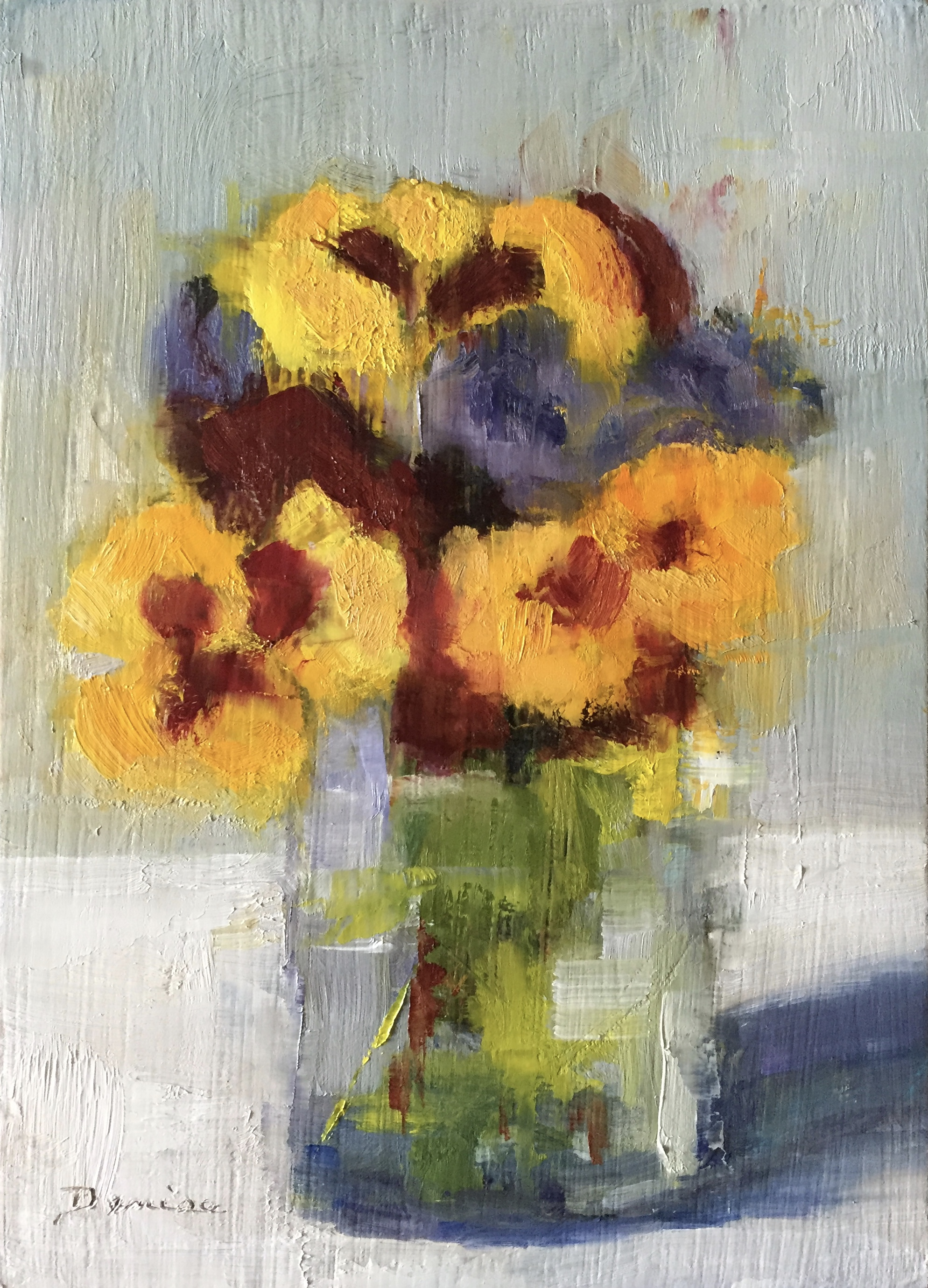 Pretty Pansies, Oil on Board, 5x7