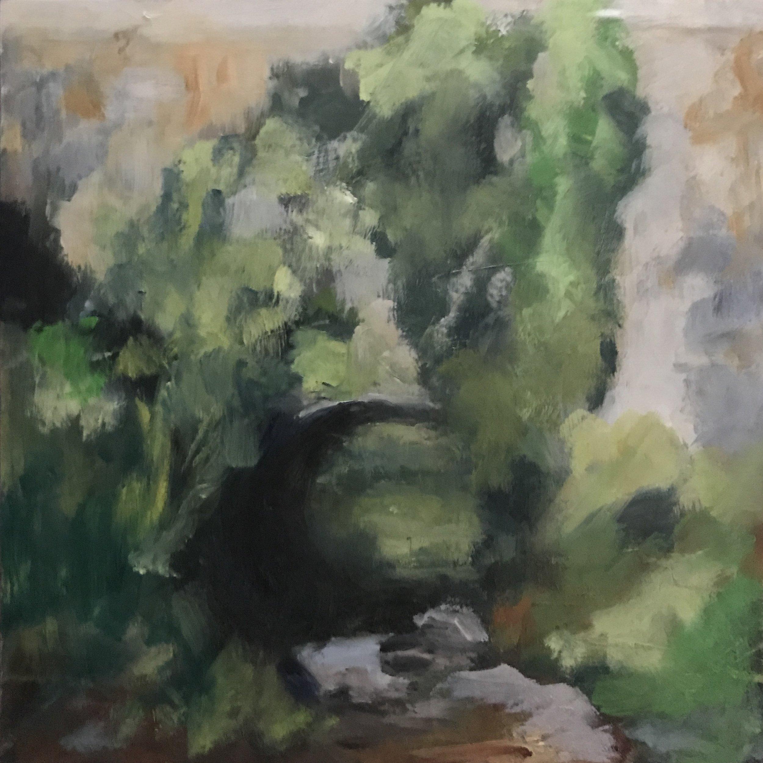 """Creek at St. David's Church, Oil on Board, 6x6"""""""