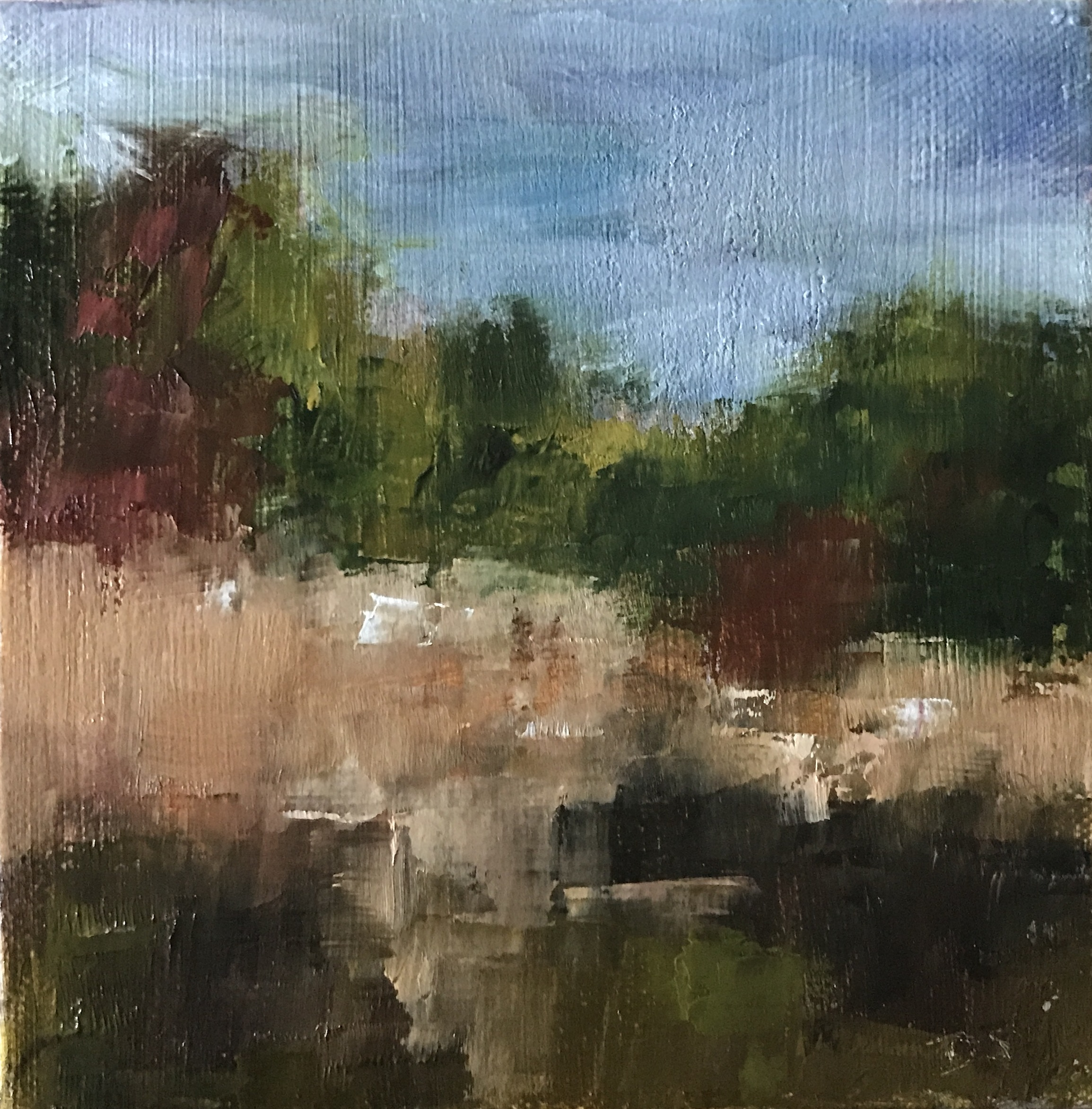 On the side of the Road at Valley Forge Park, Oil on Canvas, 6x6""