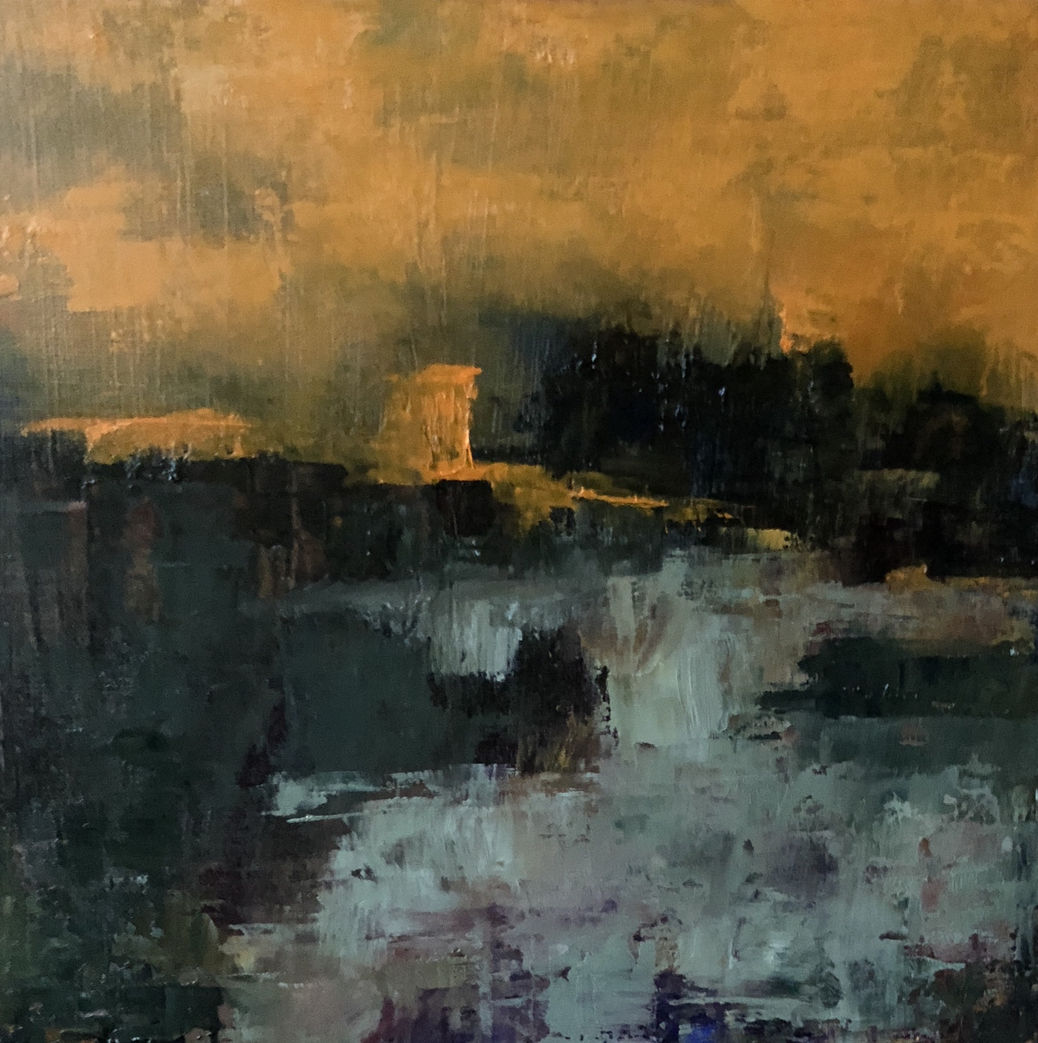 """After Glow, Oil on Board, 6""""x6"""", SOLD"""