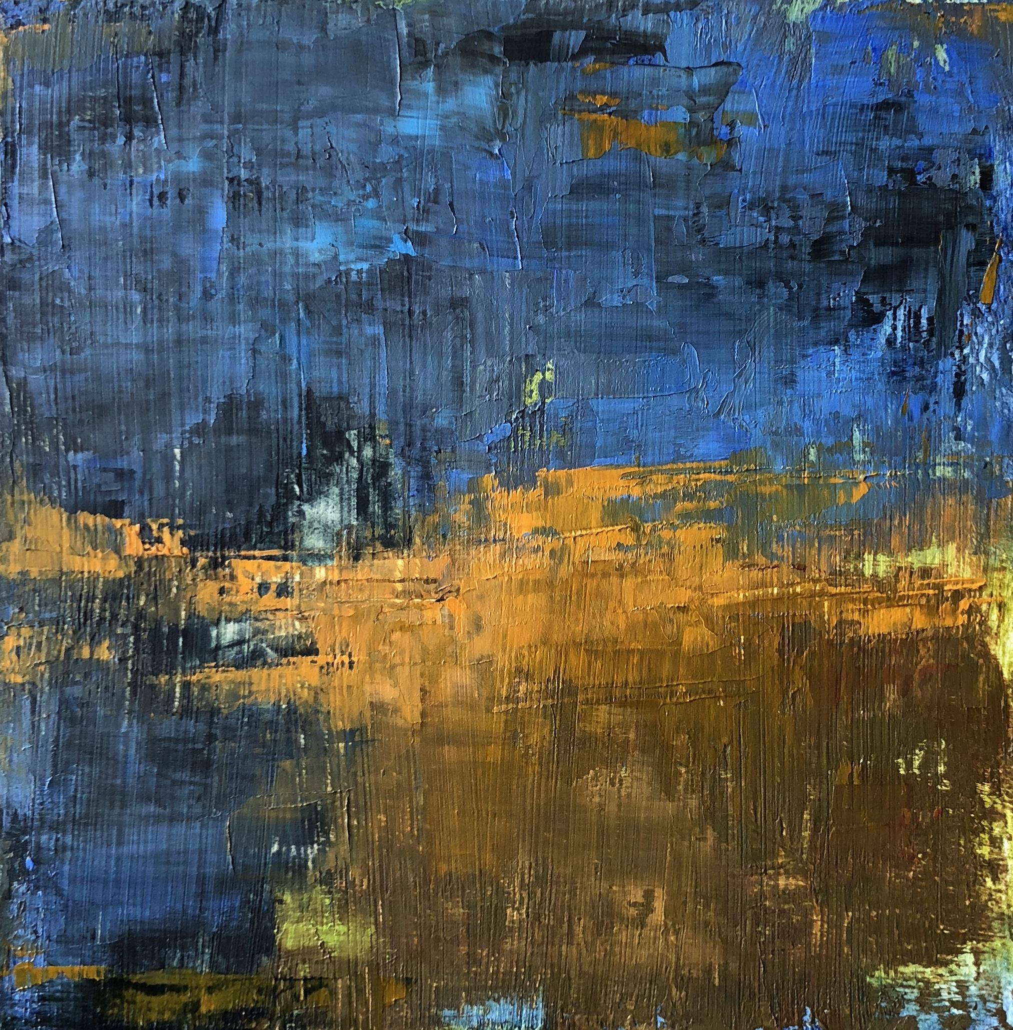 """Blue Tide, Oil on Board, 6""""x6"""""""