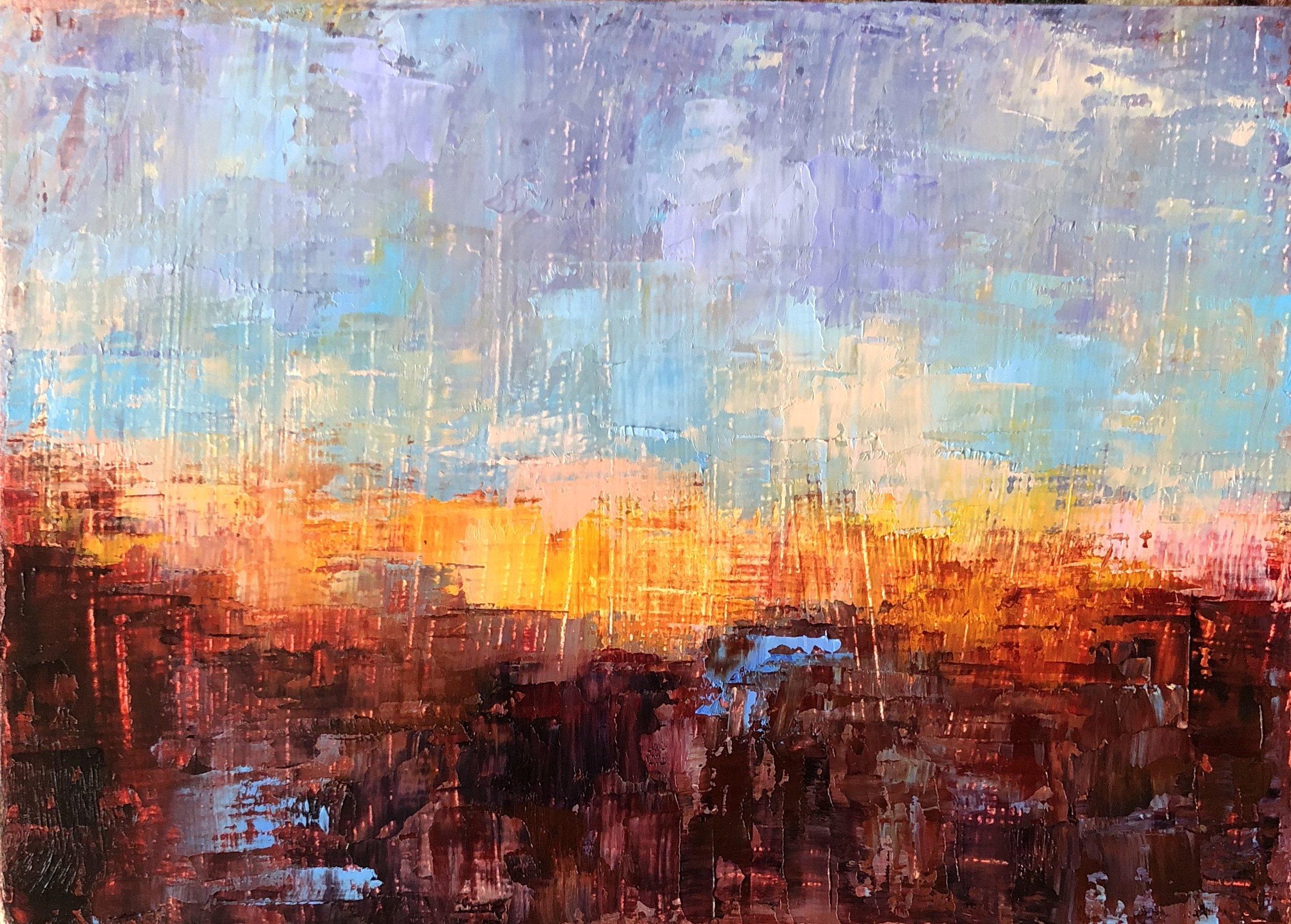 "Orange Glow, Oil on Panel, 5""x7"" SOLD"