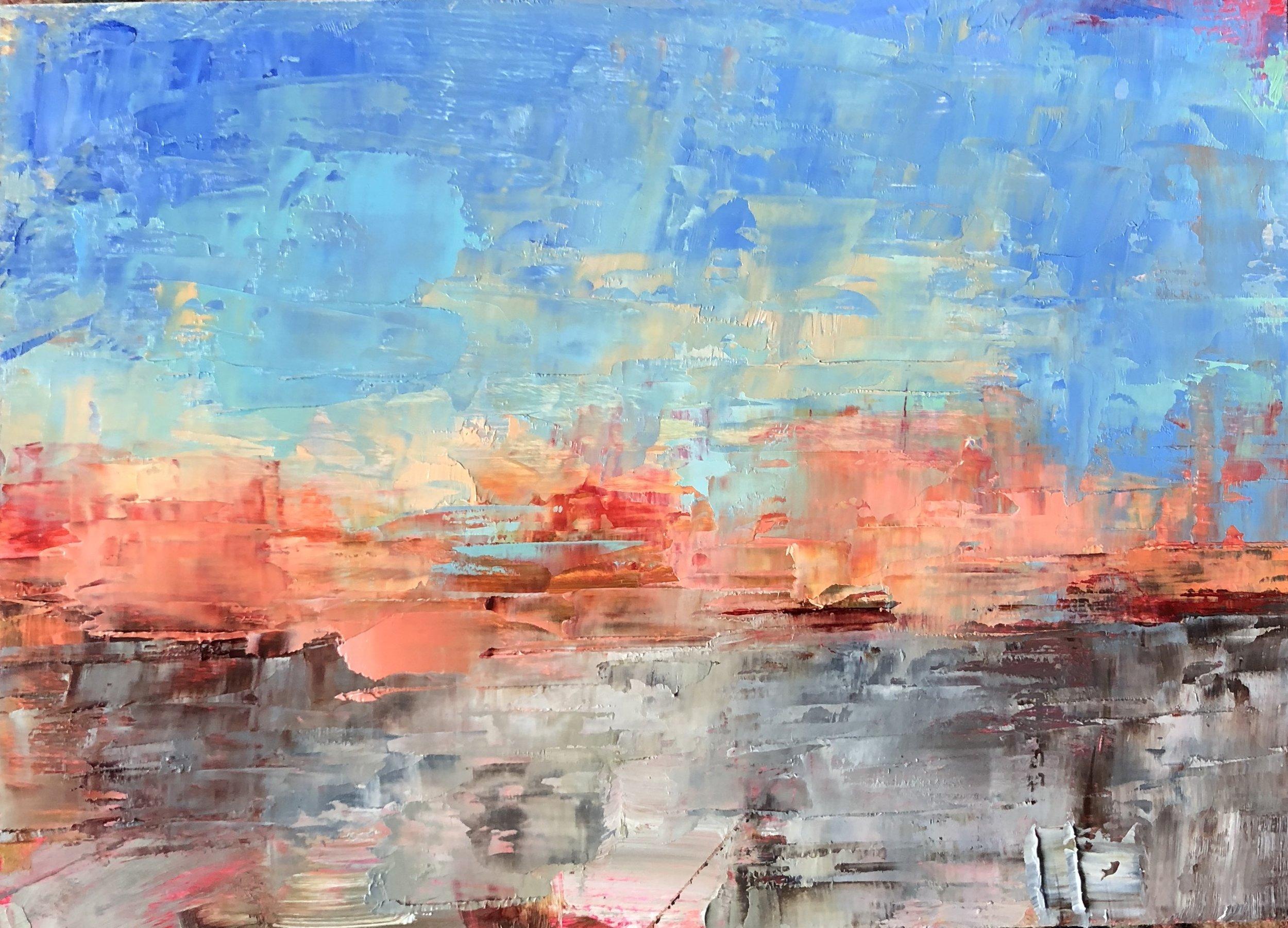 """Pink Horizon, Oil on Panel, 5""""x7"""""""