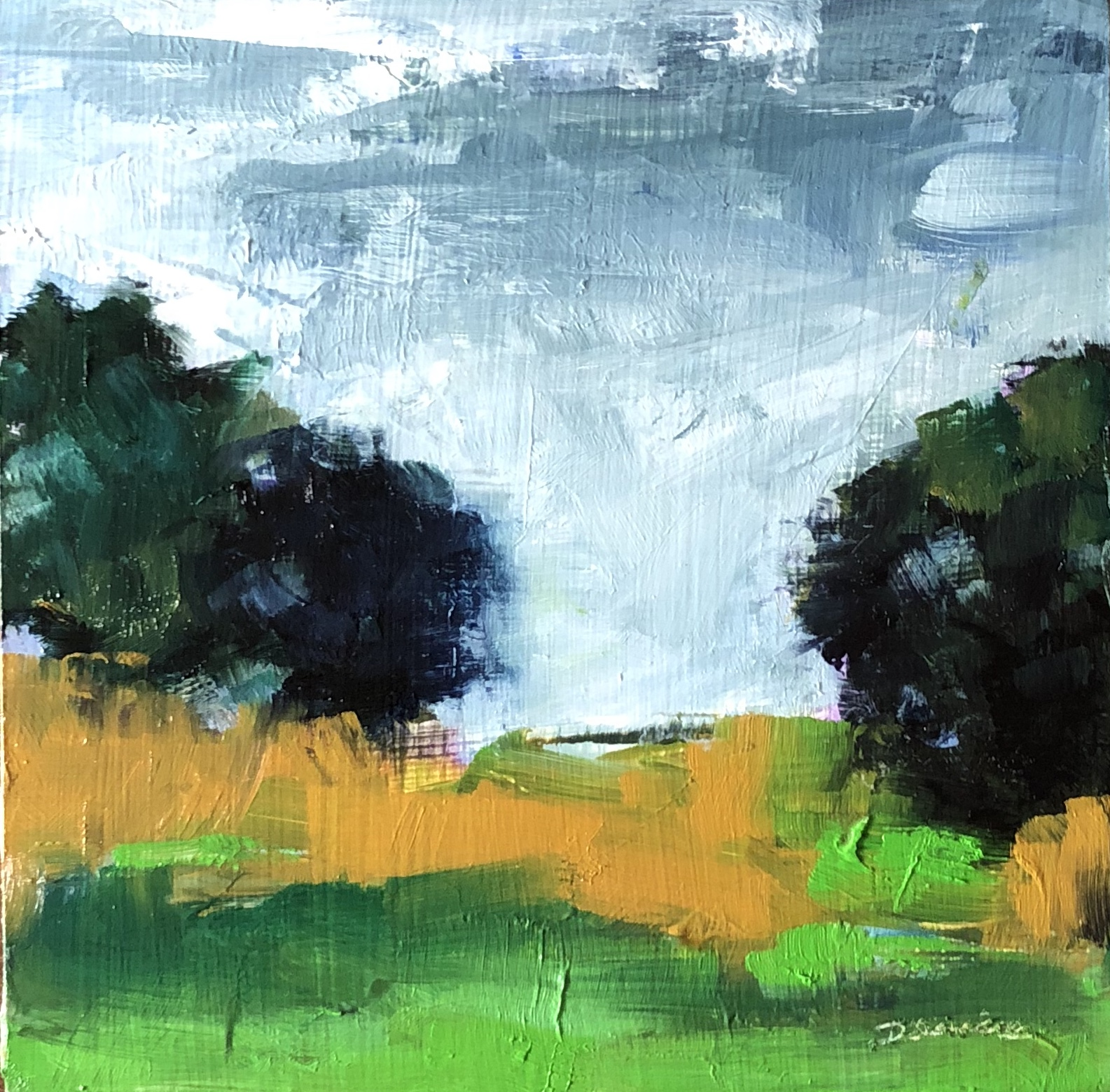 "It's Going to Rain, Oil on Panel, 6""x6"""