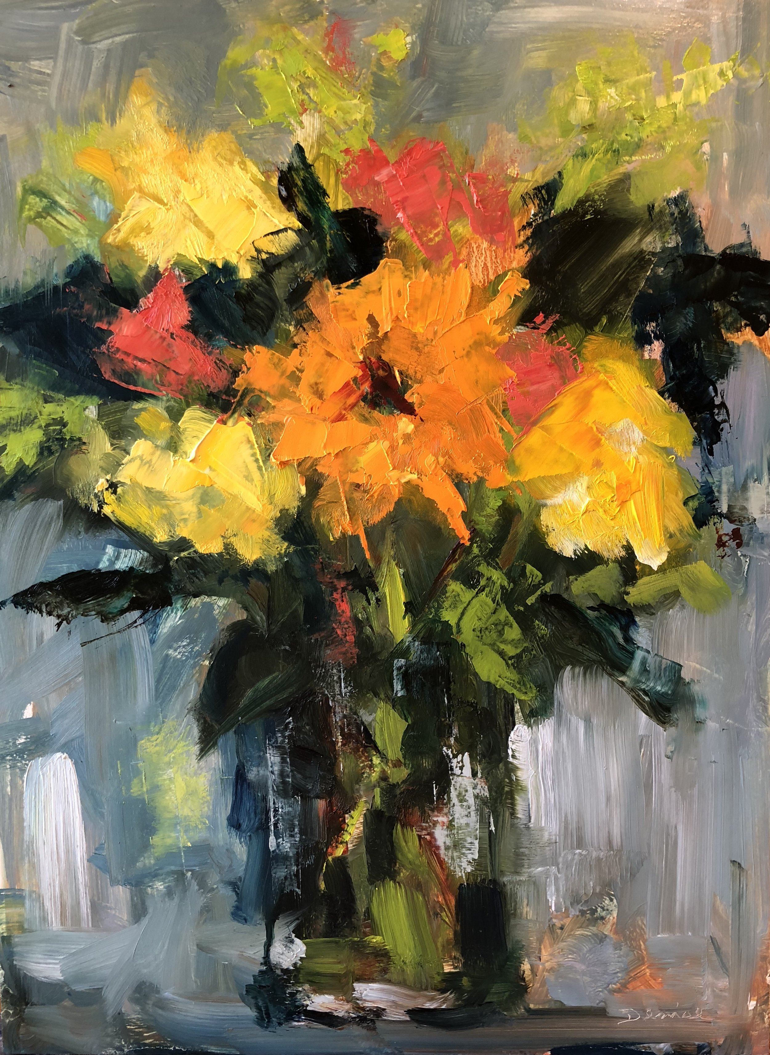 "Thoughtful Bouquet, Oil on Board, 9""x12"", SOLD"