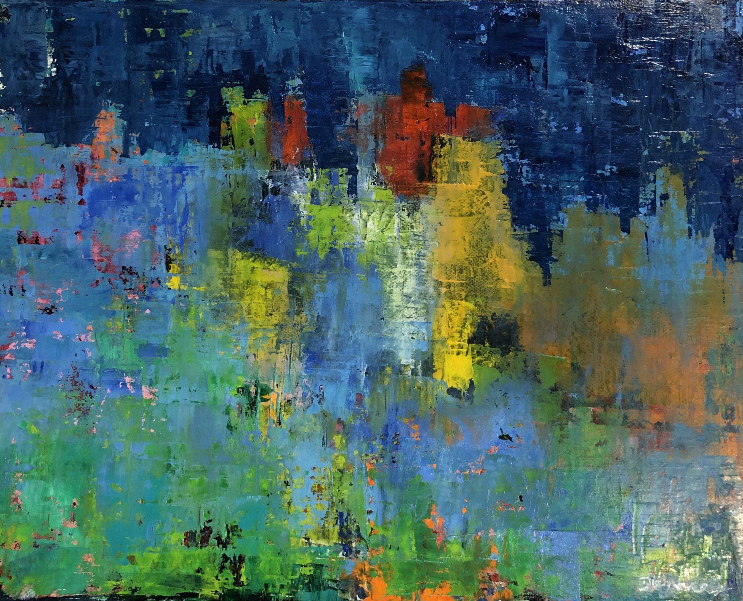 "City Lights, Oil on Canvas, 11"" x 14"""
